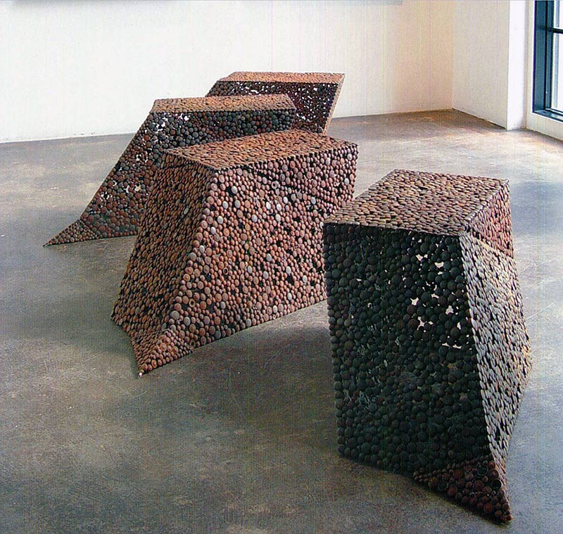 "Paula Castillo, ""Staircase"" 2008. Consists of seven serial forms each constructed out of steel waste bi product."