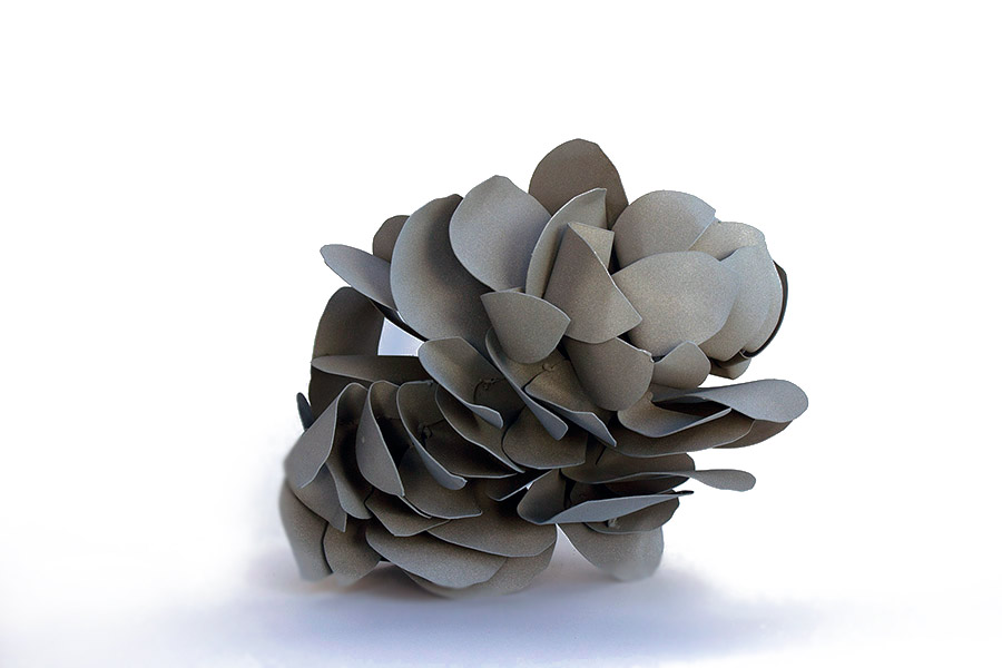 "Castillo, ""Flower in Flower,"" 2016. Hand cut, hand formed steel, 30 x 15 x 18 in"